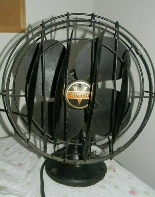 """12"""" Victor Electric Products Breeze Spreader Fan, Rare Antique Oscillates Works"""