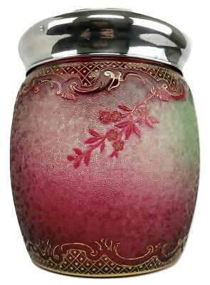 RARE Antique BACCARAT Ruby Red Gilt Rococo Sterling Silver Biscuit Lidded Jar