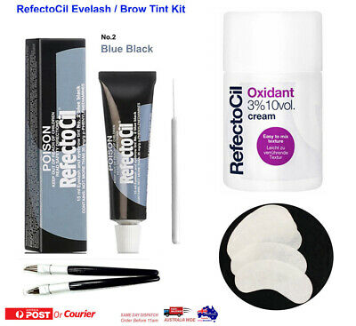 RefectoCil Eyelash Tint Kit Tint Colour Oxidant Cream Blue Black Tint Brush