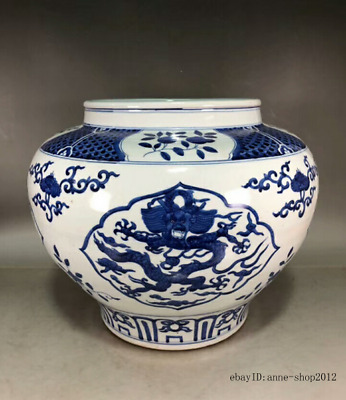 30CM collect China Old Blue and white Porcelain Pottery Handmade Tank Pot AJJJ