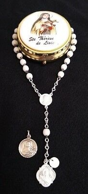 St Therese Chaplet & Sterling Medal & Round Box VINTAGE Patron Saint of Florists