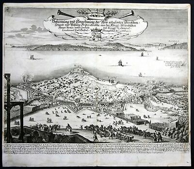 1693 Fredericia Danmark battle Schlacht Karte map Plan Kupferstich antique print