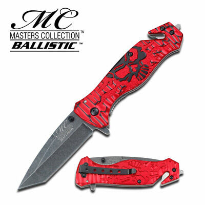 "7.75"" Red Skull Tanto Blade Spring Assisted Open Glass Breaker Rescue Knife"