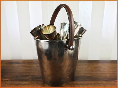 Silver Plate 6 Flutes Champagne Bucket Cooler Leather Concepts Glasses Wine Set