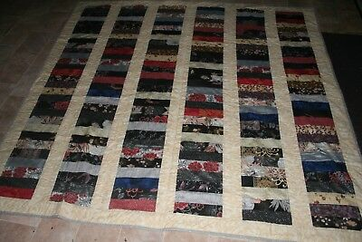 Hand made multi coloured quilt for a single bed size 167x165cm
