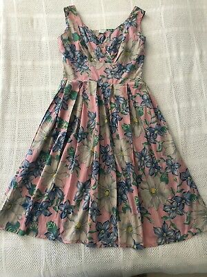 AS NEW LAZYBONES Floral Print Cotton 50's Style A-Line Fit & Flare ALICE Dress L