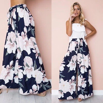 Women Boho High Waist Floral Palazzo Pants Wide Leg Long Trousers Loose Culottes