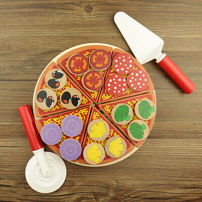 Wooden Pizza Toy for Kids Pizza Play Food Set - Wooden Play Food Sets UK