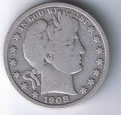 1908 D Barber Half Dollar 90% Silver 50 Cent Coin 1/2 $1 fifty cent F FINE