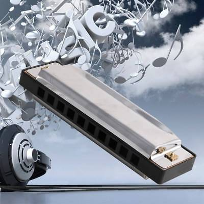 Blues Harmonica 10 Holes Key of Stainless Instrument with Case Steel Musical