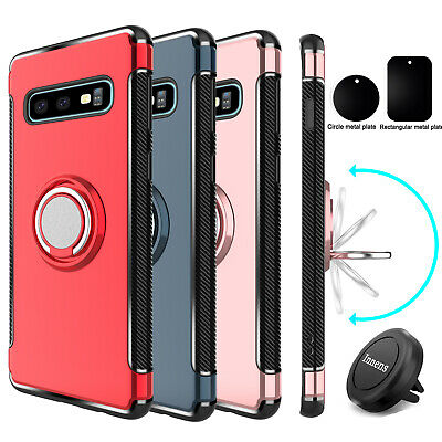 For Samsung Galaxy S10 Plus Phone Case With Ring Holder Stand+Car Air Vent Mount