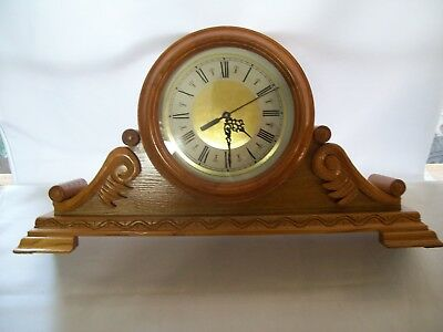 "Large Oak Wood Mantel Quartz Clock Antique Design 12"" Tall 22 1/2"" Wide"
