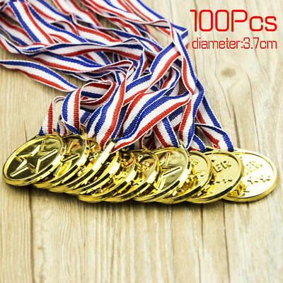 50/100PCS Children Gold Plastic Winners Medals Sports Day Party Bag Awards Toys