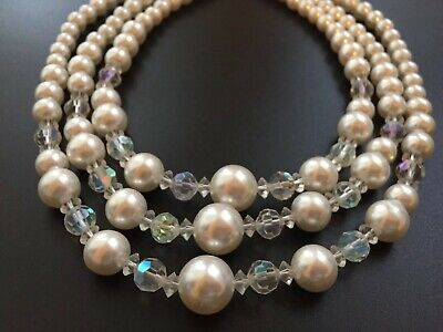 "Vintage Faux Pearl AB Crystal 3 Strand 18"" Necklace"