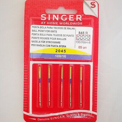 SINGER (Genuine) NEEDLES BALL POINT for KNITS  845R  S2045  100/16