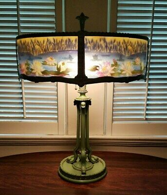 Stunning Antique Art Nouveau Arts Crafts RAINAUD Reverse Painted Water Lily Lamp