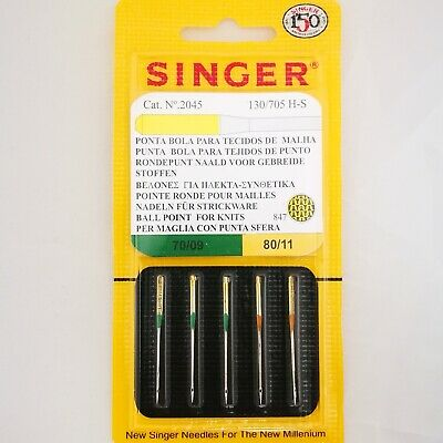 SINGER (Genuine) NEEDLES BALL POINT for KNITS  847  S2045  70/09 & 80/11