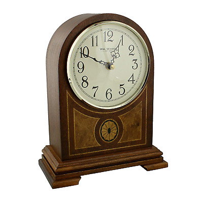 Wooden Arched Inlaid Case Quartz Mantel Clock With Arabic Numbers and Chime