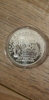 Texas Sesquicentennial 1st Battle In 1835  1 Troy Oz .999 Fine Silver Round Coin