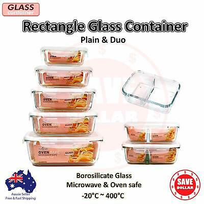 Glass Container Rectangle Food Storage Oven Microwave Safe BPA Free Duo Divided