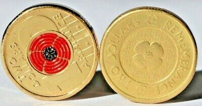 Rare Remembrance Day $2 Poppy Coins - 2012 Gold Poppy - 2018 Red Poppy 100 Years