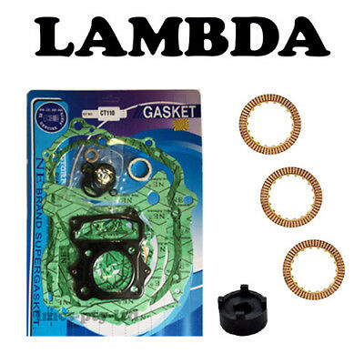 Full Gasket Set + 3x Clutch Plates + Clutch Tool for Honda CT110 Postie Bikes