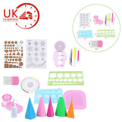 18PCS Quilling DIY Craft Tool Full Kit Tweezer Work Board Mould Grid Guide UK