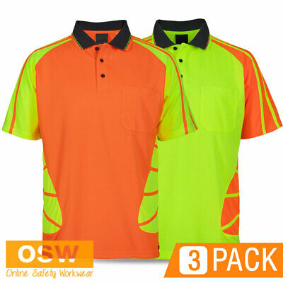 3 X Hi Vis Unisex Breathable Safety Spider Tradies/Builder Work S/S Polo Shirts