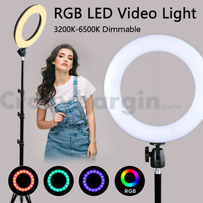 6500K Dimmable RGB LED Ring Light Diffuser Stand Make Up Studio Photo Video