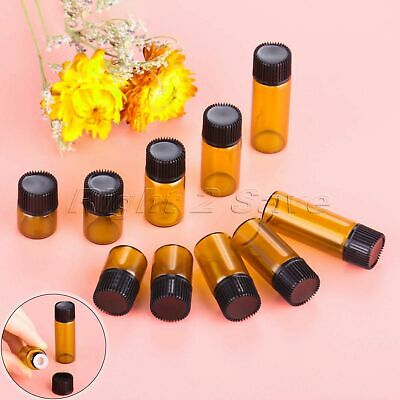 10Pcs 1/2/3/4/5ml Amber Glass Essential Oil Bottle Concave Inner Plug &Black Cap