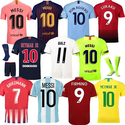 18-19 Football League Kits Kids Youth Soccer Short Sleeve Jersey Outfits+Socks