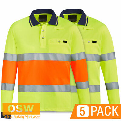 5 X Hi Vis Unisex L/S Bio-Motion Reflective Qld Controller Polo Safety Shirts