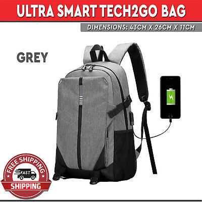 Backpack with USB Charging Port Ultra Smart Rechargable Large Laptop Bag Gray