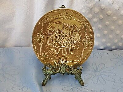 Antique Chinese Solid Brass Dish.  Beautiful Ornate Etching.