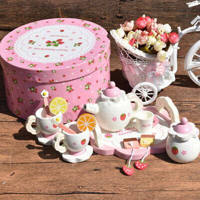 Wooden Kids Tea Set Role Play Kitchen Toy Pretend Cup Teapot Tray Bowl Gift