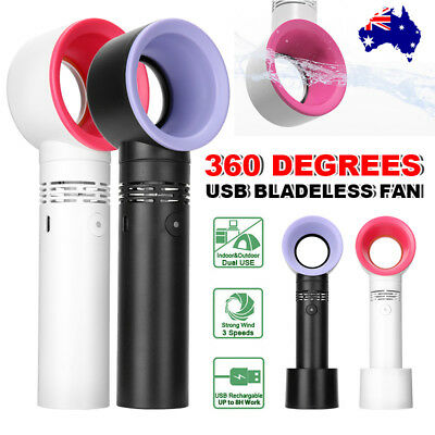 Mini Wireless Portable Bladeless Cooling Fan No Leaf USB Charging Handheld Desk