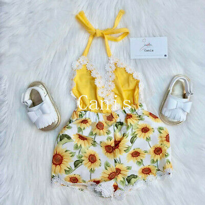 5009795a933c Newborn Baby Girls Sunflower Romper Bodysuit Jumpsuit Outfits Set Clothes  Summer