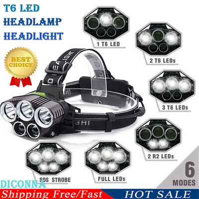 1 * Super-bright 90000LM T6 LED Headlamp Headlight Torch Rechargeable Flashlight