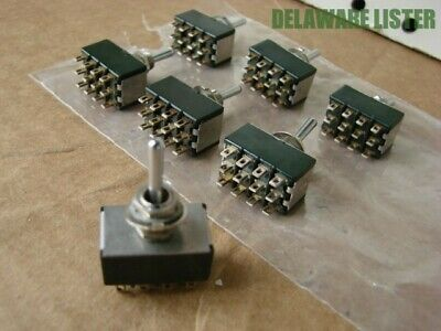 Lot of 7 Vintage Mini Toggle Switch On/Off/ON Rocker Made USA 12 Pin 5A-125VAC