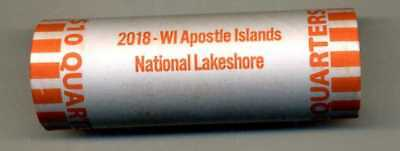 """2018 APOSTLE ISLANDS WISCONSIN """"ATB"""" NATIONAL PARK QUARTER BANK WRAP ROLL P or D"""