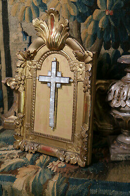 Antique French Baroque Carved Gilt Wood Frame Mother of Pearl Crucifix