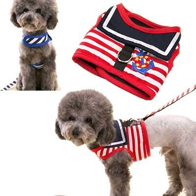 Navy Sailor Non Pull Safety Strap Vest Pet Dog Harness Puppy Walk Leash Collar
