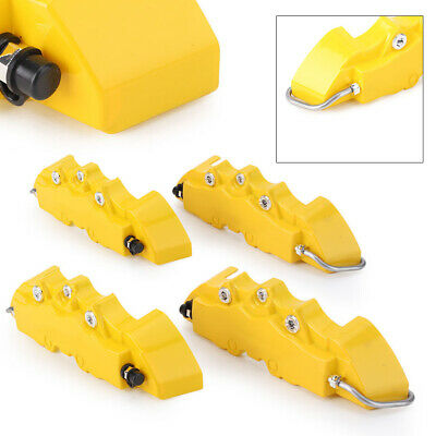4x Front Rear Disc Brake Caliper Covers Yellow Fashion 3D Car Truck Universal
