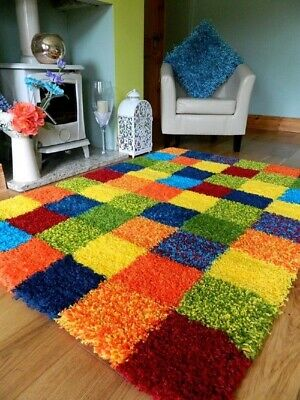 Luxury Multicolour Patches Super Soft Long Pile Shaggy Rug non-Shed Floor Runner