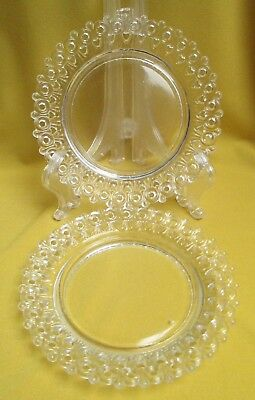 Antique Glass Plates, Egg and Dart Lacey Edge, Circa 1890, Great Little Find