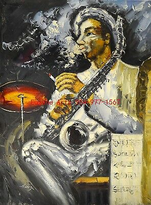 "36x48""(92x122cm)100%Hand Painted Oil Flat,Musician, Music"