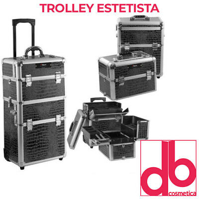 Trolley Estetista Parrucchiere Make Up Nail Art Porta Attrezzi Rigido 3 In 1
