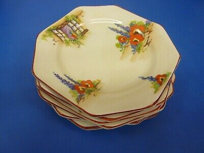 Vintage Leighton Pottery Old Cottage Window Serving dish x 1 and tea plates x 6