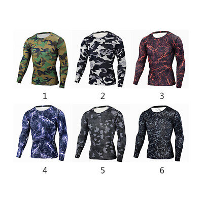 Mens Compression Camouflage Long Sleeve Tight Tee Shirt Fitness Quick Dry Sale
