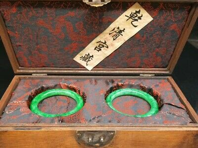 chinese old qing court collection green jade bracelet a pair with wood box